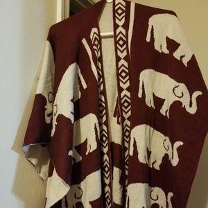 Elephant Print (Reversible) - Wrap/Shawl/Kimono